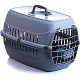 Transportbox für Hund Katze mit Metalltür und Napf 58x35x37cm bis 8 kg grau