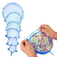 Nuovoware Silicone Stretch Lids, [6 PACK] Multi Size Durable Food Grade Airtight Soft Silicone Lids Food and Bowl Covers for keeping Food and Fruit Fresh, Transparent Strecthable Food Seal Wrap, Blue