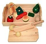 Beluga Spielwaren 70056 - Früchte und Gemüse zum Schneiden auf Tablett, aus Holz