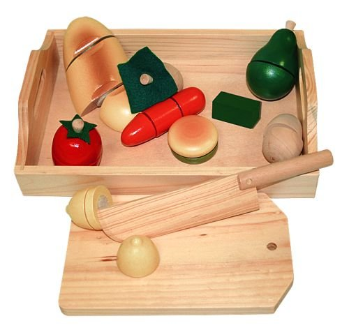 Billa24 Beluga 70056 - Wooden Fruit and Vegetables for Chopping Board with Knife, Tray and Table [German Import]