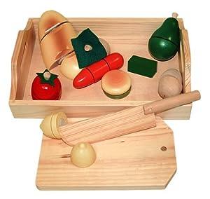 Beluga 70056 - Frutas y Verduras de Madera para Cortar (Incluye Cuchillo, Bandeja y Tabla) Importado de Alemania