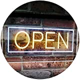 AdvPro 2C Open Shop Display Rectangle Dual Color LED Barlicht Neonlicht Lichtwerbung Neon Sign White & Yellow 400mm x 300mm st6s43-i2019-wy