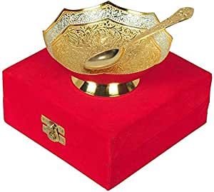 Deva Metals Handmade Premium Gifts Silver and Gold Plated Brass Bowl Comes with Gift Pack use for Dry Fruits, Gifting Purposes on Wedding Aniversary Diwali Christmas Occasion