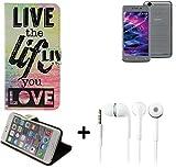 K-S-Trade Medion Life E5008 Schutz Hülle 360° Wallet Case ''live Life Love'' Schutzhülle Handy Hülle Handyhülle Cover Tasche Etui inkl. ohrstöpsel (1 STK)