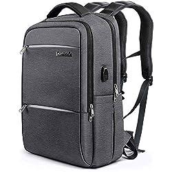 Inateck, Zaino per laptop da 15-15.6 pollici anti borseggio anti graffio con presa ricarica USB e anti-spruzzo d'acqua con la cover anti-pioggia, Grigio scuro