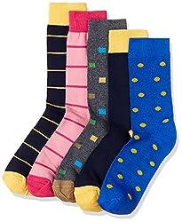 Tossido Mens Plain Calf Socks (Pack of 5) (Packof5_107_Free Size_Multi)