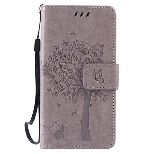 LMAZWUFULM Hülle für Huawei LUA-L21 /Y3 II 4,5 Zoll PU Leder Magnetverschluss Brieftasche Lederhülle Baum und Katzen Muster Standfunktion Schutzhülle Ledertasche Flip Cover Grau
