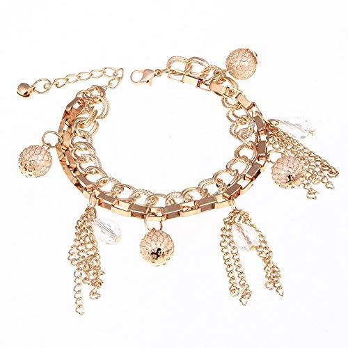 IJEWALRY Damenarmband Armbänder Armband,Gold Farbe Kette Charme Armbänder Frauen Korean Style Ball Quaste Fringe Kristall Elegante Feines Armband Armreif Für Hochzeit