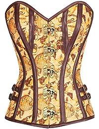 YiJee Mujer Gothic Steampunk Steel Boned Waist Cincher Corsé Vest