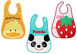 1stbabystore waterproof baby feeding bibs pack of 3 (mix prints and colors)
