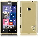 JAMMYLIZARD | Back Cover Hülle für Nokia Lumia 520 Schutzhülle aus Silikon in Gebürstetes Aluminium Optik, GOLD