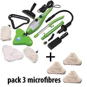 H2O Mop X5 - Nettoyeur Vapeur - Balai Portatif 5 en 1 - Multi-Usages - Poids Plume + 3 Embouts Microfibres