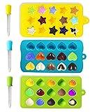 joyoldelf Stampi in Silicone per Ghiaccio e Dolcetti Stampi Cioccolatini per Bambini Modello Include Cuori Stelle e Conchiglie