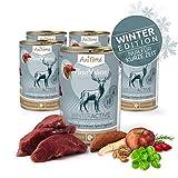 AniForte Natürliches Nassfutter WinterActive für Hunde, Frischer Hirsch und Rind, getreidefrei, glutenfrei, Futter mit 87% Fleisch, Hundefutter für alle Hunderassen, Ohne künstliche Zusätze - 6X 400g