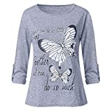 iYmitz Langarmshirts Damen Mode Sommer Langarm Bluse Schmetterling Drucken Baumwoll Tops Oberteile Hemd Shirts T-Shirts(Grau,EU-38/CN-L)