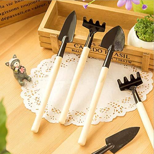 xianhuzhenzhen Mini-Spaten Rechen mit Stiel und Stiel für Baum, Holz-Werkzeug, lustige Schaufel, Rechen, Spaten, Gartenschaufel, 3 Stück - Farben - Farbton Cotton Liner