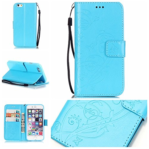 JIALUN-Telefon Fall Mit Kartensteckplatz, Lanyard, Druck Schöne Muster Mode Open Handy Shell für Apple IPhone 7 ( Color : Brown , Size : IPhone 7 ) Blue
