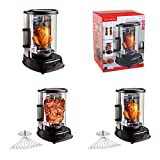 Hähnchen-Grill mit abnehmbare Fettabtropfschale 1500 Watt (Multigrill, Döner-Grill, Spießgrill für Schaschlik, Edelstahl)