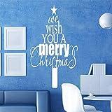jiuyaomai Citations Joyeux Noël Wall Sticker Accueil Porte Boutique Fenêtre De Noël Peinture Murale Amovible Décoration De Noël 77x119cm