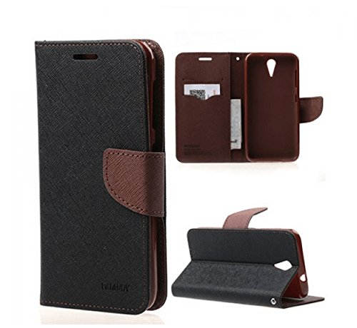 BRAND AFFAIRS Luxury Mercury Goospery Fancy Wallet Imported Original Premium Quality Fancy Folding Flip Folio with Stand View Faux Leather Mobile Flip Cover and 2 cards slot Stand Case Cover For Mercury Fancy Diary CARD Wallet Flip Case Back Cover for SONY XPERIA C (c2305) (Black&Brown)  available at amazon for Rs.199