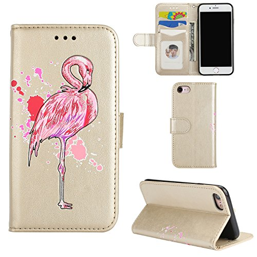 Coque iPhone 7 (4,7 Zoll) Protection Étui Housse, Anlike Wallet Cover / Protector Coquille / Stand et les fentes de carte de crédit - Flamants roses [ Golden ]