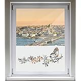 INDIGOS UG Sichtschutzfolie Glasdekorfolie Fensterfolie mit Motiv satiniert blickdicht - d181 süßer Schmetterling Blüten Ranke Pflanze Tribal - 1000 mm Länge - 500 mm Höhe Viereck
