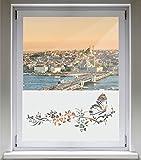 INDIGOS UG Sichtschutzfolie Glasdekorfolie Fensterfolie mit Motiv satiniert blickdicht - d181 süßer Schmetterling Blüten Ranke Pflanze Tribal - 1200 mm Länge - 500 mm Höhe Viereck