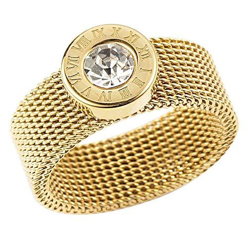 ZHOUYF RING Verlobungsringe Mode Römische Zahl Kristall Runde Ringe Gold Farbe Edelstahlgewebe Kette Ring Für Frauen Schmuck, A, 8# (Cartier Ehering Gold)