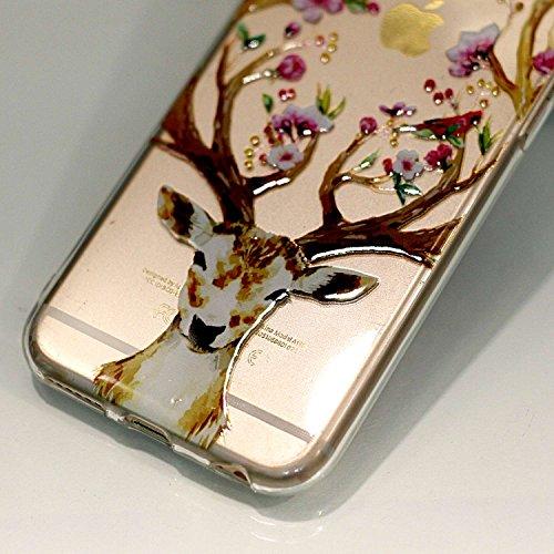 iPhone 6 6S Hülle,iPhone 6 6S Case [Scratch-Resistant] , Cozy Hut ® Ananas Design Niedliche Cartoon Malerei Silikon Hülle / Schutzhülle / Cover für iPhone 6 6S (4,7 Zoll), TPU Clear Transparent Protec Sika Hirsch