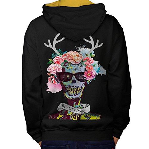 Blume Zucker Schädel Zombie Seele Kostüm Men L Kontrast Kapuzenpullover Zurück | (Kostüme Zucker Herren)