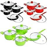 TecTake 8 teiliges Keramik Kochtopf Set mit Glasdeckel -diverse Farben-