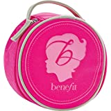 """Benefit Cosmetics Emblem Case Round Velvet Makeup Travel Case In Pink Measures 6"""" By 6"""" By 3"""""""