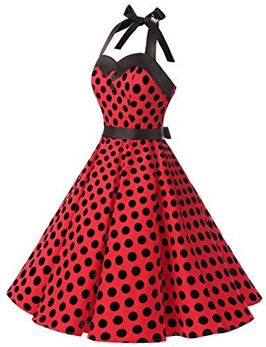 Dressystar Vintage Tupfen Retro Cocktail Abschlussball Kleider 50er 60er Rockabilly Neckholder Rot Schwarz Dot M - 2