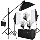 BPS Photography Continuous Soft Box Lighting Kit Photo Video Studio Control Separately 15 x Lamps 2850W 3 x20'x28'/50x70cm Softboxes + 15 x 190W 5400k Daywhite Bulbs + 3 x E27 5-Socket Light Heads + 2 x 2m adjustable Light Stand + 2.8m Boom Light Stand Support + Boom Arm + Carry Bag