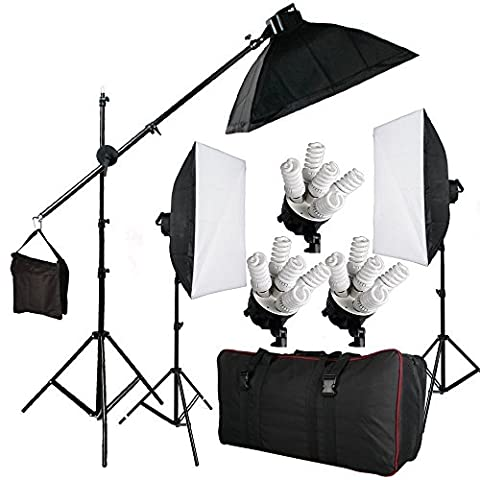 BPS 2850W Photography Continuous Soft Box Lighting Kit - 15 x 190W 5400k Daywhite Bulbs + 3 x 20