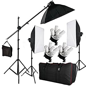"""BPS 2850W Photography Continuous Soft Box Lighting Kit - 15 x 190W 5400k Daywhite Bulbs + 3 x 20""""x28""""/50x70cm Softboxes + 3 x E27 5-Socket Light Heads + 2 x 2m adjustable Backdrops Light Stand + 2.8m Boom Light Stand Support + Boom Arm + Carry Bag"""