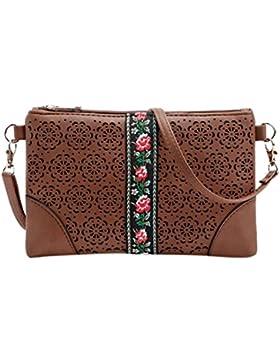 BZLine® Frauen Handtaschen Schulter Messeng Blumen Tasche Hippie Stickerei Tasche