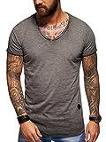 Behype. Herren Oversize Kurzarm Basic T-Shirt V-Neck 20-1720 Dunkelgrau L