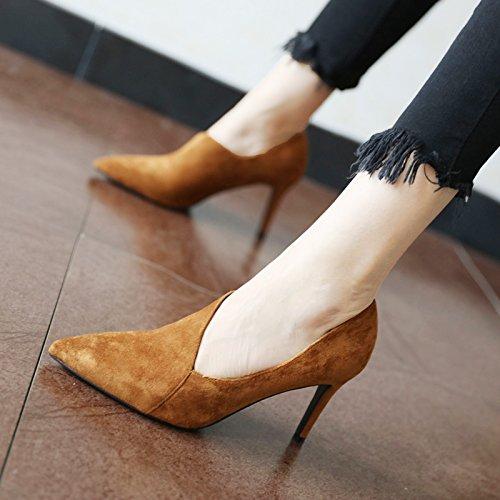 FLYRCX Personalità del mondo della moda di temperamento semplice lady singola calzatura primavera e autunno sharp tacco alto scarpe tacco A