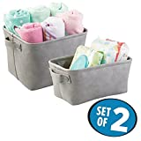 mDesign Baby Nursery Storage Organizer Bins to Hold Toys, Clothing, Blankets - Set of 2, Gray