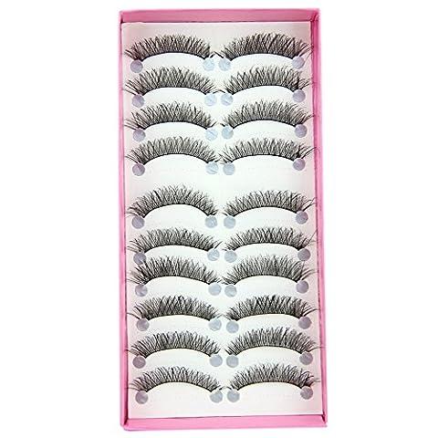 Bluelans® 10 Paar Schwarz Quer Lange Künstliche Falsche Wimpern Weiche