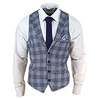 TruClothing.com Mens Waistcoat Herringbone Tweed Check 1920s Peaky Blinders Gatsby Vintage - Blue 40