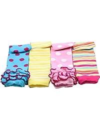 juDanzy - Juego de 4pares de calentadores de piernas para bebé y niños de 0–4años, algodón