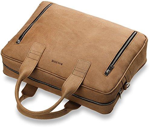 Naturleder Aktentasche Damentasche mit Laptopschutz Messengertasche Schultertasche für praktische Dame (schwarz) braun