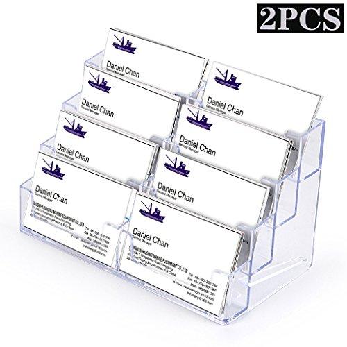 btsky 2Pcs Acryl Visitenkartenhalter–8Pocket Desktop Business Karte steht zinntheken klar Acryl Index Card Organizer für Schreibtisch Büro Zubehör