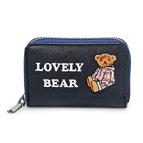Fency Women's Cute Bear Mini Embroidered Faux Leather Zip Around Card Holder Poono (95-Degree Black)