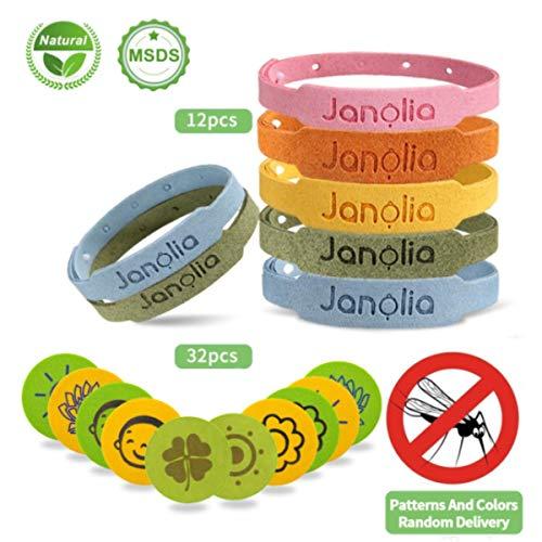 Janolia Mückenschutz-Combo, 12 Stück Mückenschutz Armband+ 32 Stück Mückenschutz Aufkleber, Natürlichen Öl, Sicheres Deef-Freies, für Indoor, Outdoor, Kinder, Erwachsene - Citronella Öl, Mückenschutz