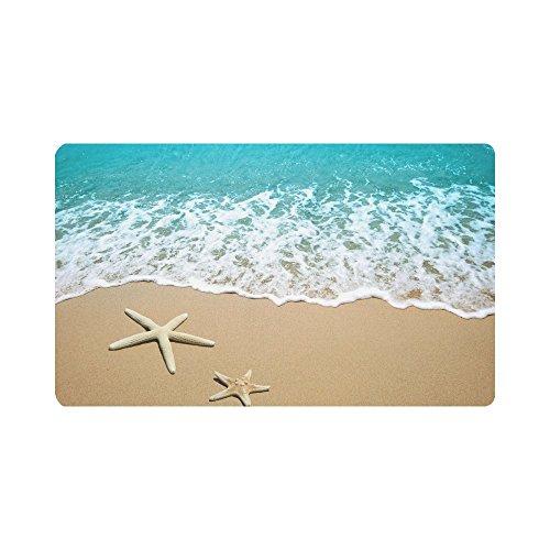 InterestPrint Fußmatte, Rutschfest, für Innen- und Außenbereich, Fußmatte, Fußmatte, Gummi-Unterseite, 60 cm (L) x 40 cm (B) 18 x 30 Starfish on a Beach Sand