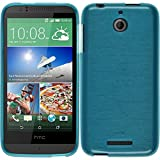 PhoneNatic Case für HTC Desire 510 Hülle Silikon blau, brushed + 2 Schutzfolien