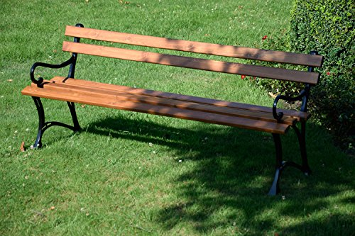 dobar Große Garten Sitzbank aus Gusseisen massiv, FSC für draußen wetterfest, Holzbank mit Lehne aus Metall, 180 x 45 x 72,5 cm, braun - 4